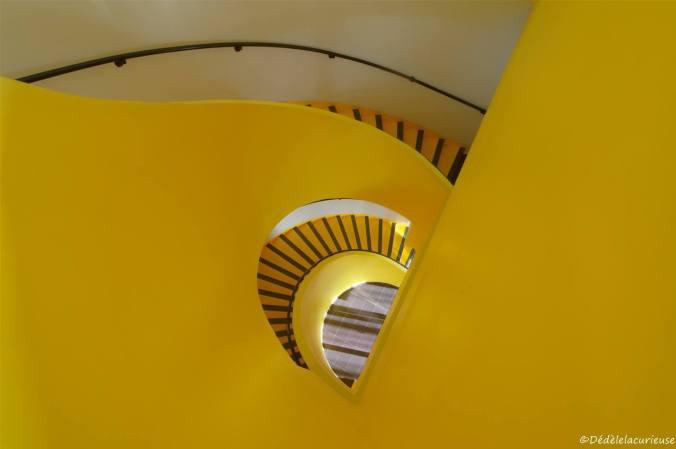 l'escalier jaune de la Team Poussin au Royal Hôtel Lyon